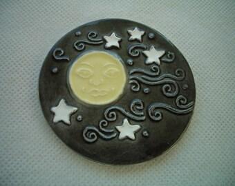 EMI - INTRICATE MOON w Stars - Ceramic Mosaic Tile or Magnet