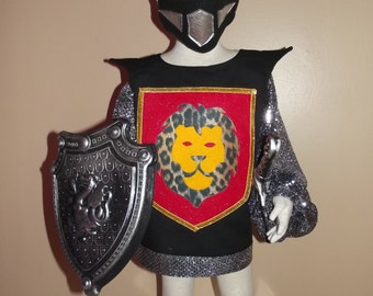 Knight costume, size 4/6, four piece set - tunic, helmet, sword and shield