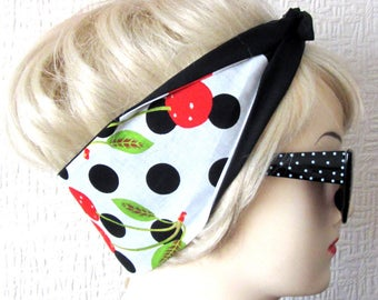 Cherry Hair Tie White Black Large Polka Dot Print Rockabilly Scarf Wrap by Dolly Cool