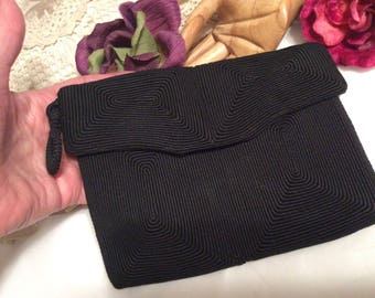 Vintage small black wrap cord clutch bag, black wrapped fiber cord evening pouch, black fabric twisted cord square clutch