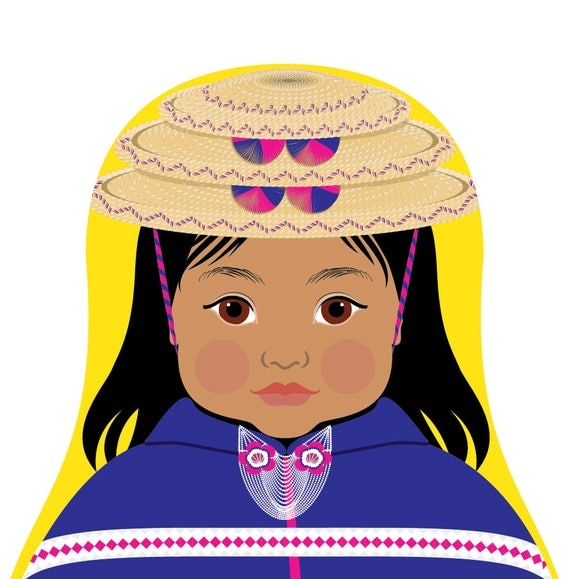 Colombian Misak, Guambiana Doll Art Print with traditional dress