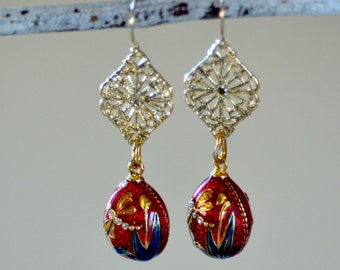 Faberge Egg Gold Earrings. Gift For Her. Authentic Russian Hand Painted Dragon Fly Enamel. Gold Filled Filigree Statement Earrings