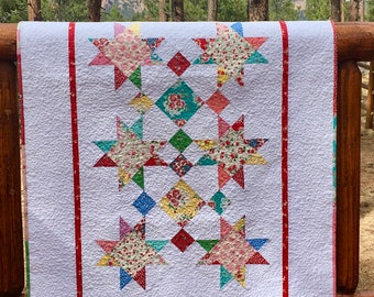 Quilt Baby Toddler Old New Thirties Nursery Bedding Crib Cot Scrappy Patchwork Stars Children Spring Summer Red Aqua piecesofpine