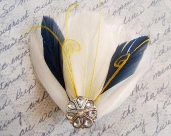Ivory, Yellow and Navy Blue Feather Fascinator - MILA PETITE - customizable bridal fascinator