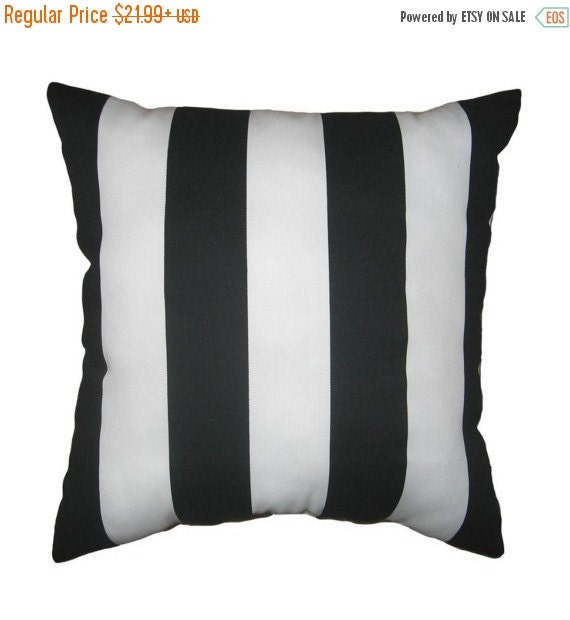 20% SALE Black and White STUFFED Stripe Pillow - Deck Stripe Black and White Stripe Outdoor Throw Pillow Free Shipping