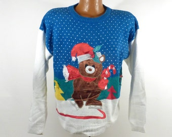 Ugly Christmas Sweater Vintage Teddy Bear Party Holiday Tacky Women's size L