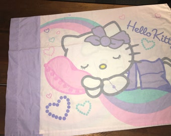 Hello Kitty Pillowcase Reclaimed Bed Linens Fabric Standard Size Pillow Case 20.5 x 29.5 Pastel pink lavender white