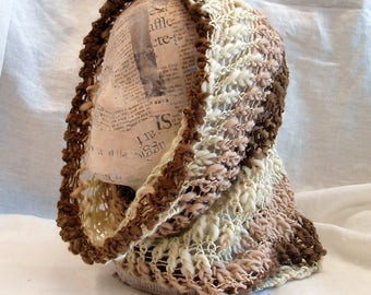 Knit cowl - natural colors - wool and acrylic blend - READY TO SHIP
