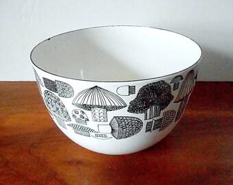 Midcentury Kaj Franck Finel Black and White Mushroom Enamel Bowl / Finland