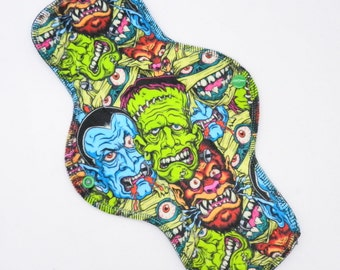 """12"""" Moderate Flow Reusable Cloth Menstrual Pad ~ Made w/ Movie Monsters Minky, Windpro ~ Day Pad, MotherMoonPads Cloth Pad"""