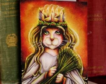 Saint Lucy Cat Calico, Santa Lucia Fantasy Art 5x7 Blank Greeting Card