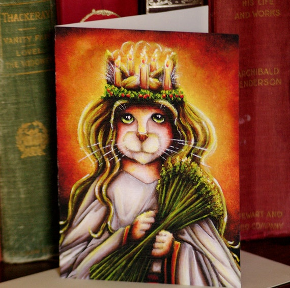 Saint Lucy Cat Calico, Santa Lucia Fantasy Art 5x7 Blank Greeting Card