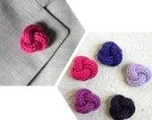 Men lapel pin. Knot lapel button. Wool lapel pin. Boutonniere. Violet - Lavender - Purple - Orchid - Raspberry