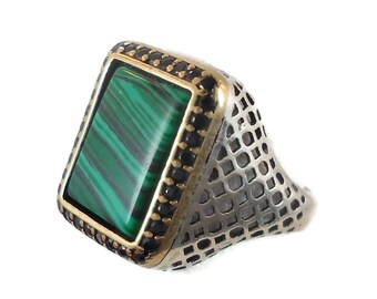 RESERVED - #2 Malachite Ring, Sterling Silver, Vintage, Mens Ring, Green Stone, Black Stones, Middle Eastern,Unique, Two Toned, Size 10 1/2