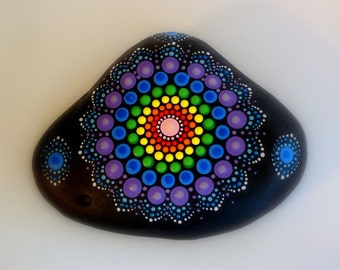 Bohemian dot art-mandala stone-Holiday gift idea-painted rock-yoga meditation-ooak 3D neon polka dot art-rainbow lace-triangle-pointillism