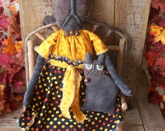 Primitive Halloween Black Cat Art Doll with Black Kitten Priscilla and Boo Large Set
