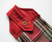 Hanging kitchen towel  button top red brown  tan madras plaid   Quiltsy handmade