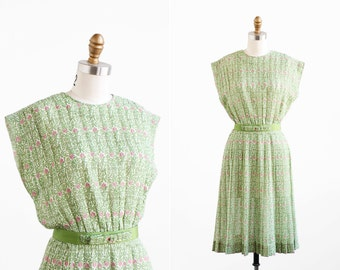 vintage 1950s dress / green and pink dress / 1960s Sheer Cotton Pleats Dress with Bow Belt