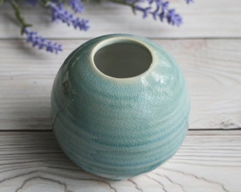 Small Round Vase in Soft Blue Crackled Glaze Handmade Stoneware Pottery Ready to Ship Made in USA