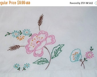 SWEETHEART SALE Vintage Pink Rose Floral Standard Pillowcase Embroidered Cottage