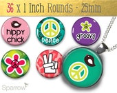 Groovy Peace Signs - (1x1) One Inch (25 mm) Round Pendant Images - Digital Collage Sheet - Instant Download - Buy 2 Get 1 Free - Magnets