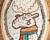 Woodland Winter Moose - Embroidery Hoop Art - CLEARANCE