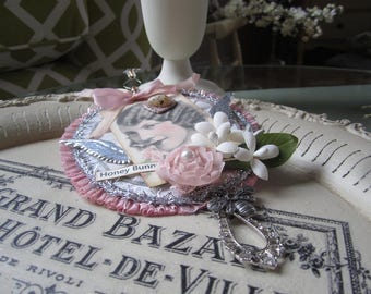 Victorian Easter Ornament - Pink Easter Decor - Vintage Lady Easter