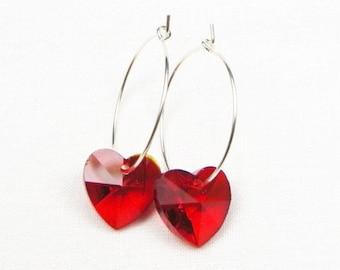 Sterling Silver Hoop Earrings - Swarovski Crystal Earrings - Gifts For Her - Siam Crystals - Heart Crystals - Red Crystal