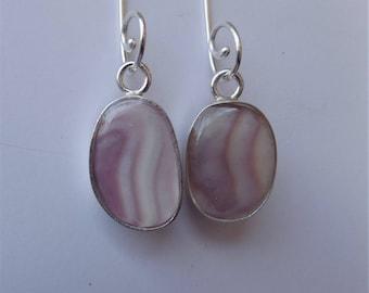 Wampum quahog shell sterling silver dangle earrings