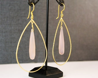 The Becka Large Oval Gold Hoop and Rose Quartz Long Drop Briolette Handmade Earrings with Vermeil Earwires