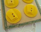 fun twin set Art Deco buttons - Cornsilk Yellow - 1930s