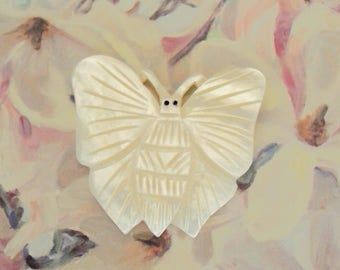 Vintage Pearl Butterfly Button deeply carved
