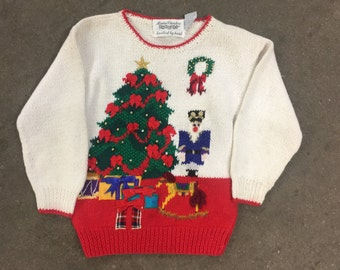 The Vintage Nutcracker Christmas Tree Hand Knitted Sweater