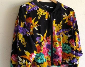 30% off SPRING SALE The Vintage Zip Up Black Floral Jacket