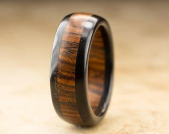 Size 10 - Cocobolo Ebony Wood Ring - 8mm