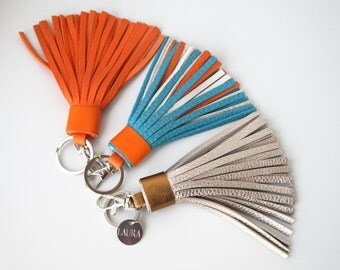 Personalized keychain Personalized Leather Tassel Keychain Engraved Stainless Steel Pendant  Genuine Textured Leather Gifts for Her