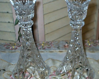 Stunning Cut Crystal Pair of 2 Tapered Candle Holders - Vintage - 1950 Era - Superb Condition