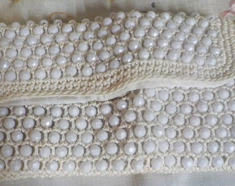 VINTAGE PURSE - Hand Clutch - Summer - Beaded and Macrame - Made in Italy - Snap Closure