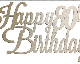 Unfinished Wood Happy Birthday Sign 17 x 29 inch with Year Door Hanger, Wall Decor