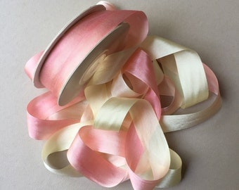 1 metre of 20mm silk ribbon (colour V101 variegated lemon/peach)
