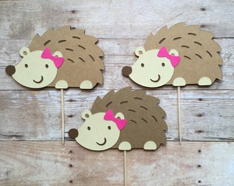 1 Dozen Hedgehog Cupcake Picks-baby shower, birthdays