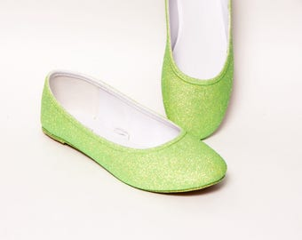 Glitter - Key Lime Green Ballet Flats Slippers Shoes