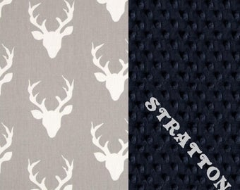 SALE Personalized Minky Baby Blanket Boy, Deer Animals Navy Gray Cotton // Deer Baby Blanket // Personalized Baby Blanket