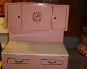 Vintage Childs Toy Cupboard    Bright Pink  Black and White     1940s    15 b 11 by 7 inches  Open Up Doors  Cute !!!