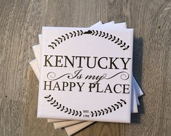 Kentucky is my happy place ceramic tile coaster set