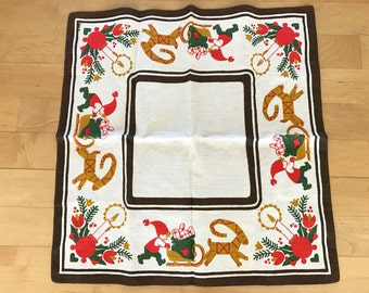 Vintage CHRISTMAS Small Tablecloth Swedish Elves Straw Goat Red Candlesticks