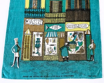 Vintage Tea Towel Market Day Store Fronts Wall Hanging Textile Donald Clark Australia