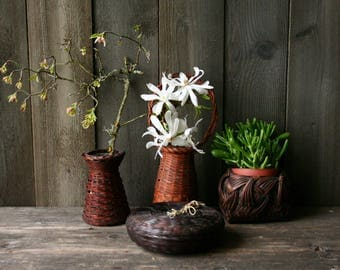 Vintage Japanese Ikebana Basket Vases Woven Bamboo and Metal Vintage From Nowvintage on Etsy