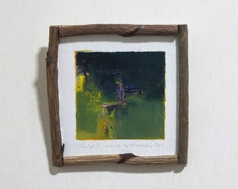 July 3, 2016 - Framed Original Abstract Oil Painting - 9x9 painting (app. 9 cm x 9 cm) with original frame
