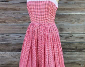 1950's red and white gingham check cotton sundress SIZE: X-Small-Small